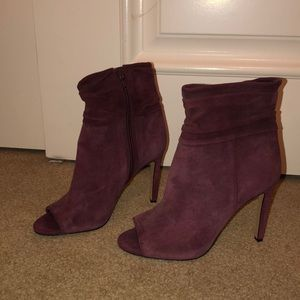 Burgundy suede Vince Camuto booties in size 7.5